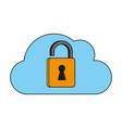 cloud unlocked padloc vector image vector image