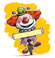 Clown on Unicle Holding a Label vector image vector image