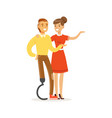couple of smiling young people man with leg vector image vector image