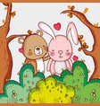 cute bear and bunny loving in the forest vector image