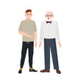 cute smiling grandfather and grandson standing vector image vector image