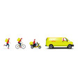 delivery truck scooter bicycle and on foot vector image