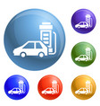 electric car charging icons set vector image