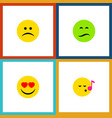 flat icon emoji set of descant love frown and vector image vector image