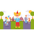 flat people family at city festival clown vector image vector image
