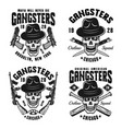 gangsters emblems with skull in hat vector image