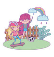 girls mounted in skateboard and playing soccer vector image