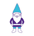 gnome with costume on color sections silhouette vector image vector image