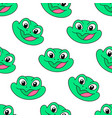 green smile frog seamless pattern textile print vector image vector image