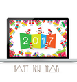Happy new year 2017 with laptop funny kids vector image vector image