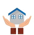 house and sheltering hands icon vector image