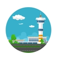Icon Runway at the Airport with Control Tower vector image