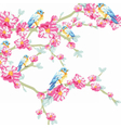 llustration blooming tree and pigeons vector image vector image