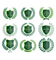 luxury green badges laurel wreath templates vector image
