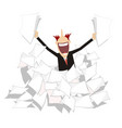 man pile of papers positive emotion vector image