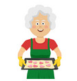 mature lady holding a tray with homemade cookies vector image vector image