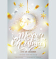 merry christmas card over gray background with vector image vector image