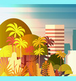 palm tree park over city buildings skyscrapers vector image vector image