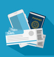 passport and flight tickets vector image