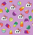 pattern with doodle girls and ice creames vector image