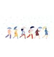 people walking rainy weather adult with umbrella vector image vector image