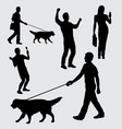 people walking with dog silhouette vector image vector image