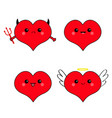 red heart head face emotion icon set devil angel vector image vector image