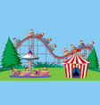 scene with monkeys on circus ride in park vector image