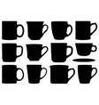 set of different cups and mugs vector image