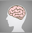 silhouette human head with a brain symbol vector image