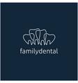 simple line art family dental logo dental clinic vector image vector image