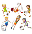 Sketches of the soccer players vector image vector image
