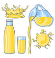 splashing and pouring yellow lemon juice in bottle vector image vector image