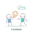 translator gives an idea man vector image vector image