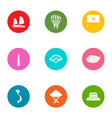 tropical asia icons set flat style vector image vector image