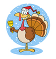 Turkey Cartoon Character Ringing A Bell vector image