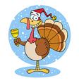 Turkey Cartoon Character Ringing A Bell vector image vector image