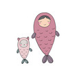 two cute fairy fish cat and girl sea theme vector image vector image