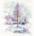 Watercolor rural house in winter day