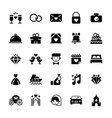 wedding icon set in flat style vector image vector image