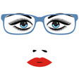 woman beautiful eyes with glasses vector image vector image