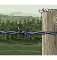 cartoon zombie crowd behind barbed wire vector image