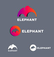 elephant mammoth flat logo set vector image
