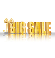 3D big sale made of pure beautiful luxury gold vector image