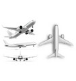 3d flying airplane jet aircraft top front side vector image