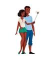 African American dark skinned couple taking selfie vector image vector image