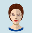 aging process face with two types of skin vector image vector image