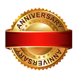 Anniversary golden label with ribbon vector image