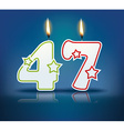 Birthday candle number 47 vector image vector image