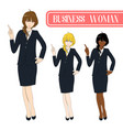 business woman pointing with serious face vector image vector image